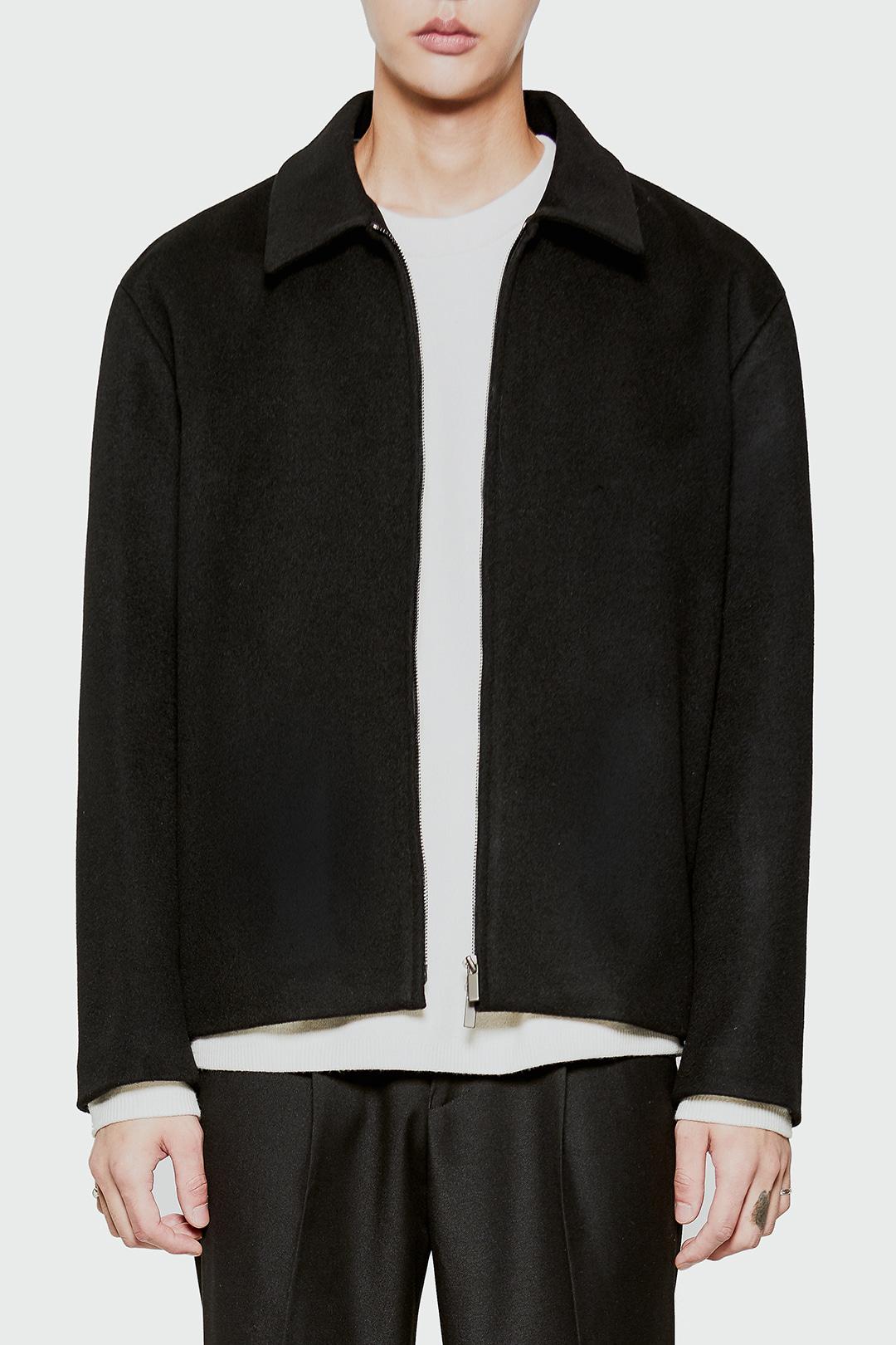 미니멀 캐시미어 트러커 자켓 BLACK